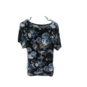 Maurices Black Floral Shirt size small short sleev